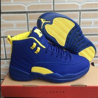 Air Jordan 12 Retro Blue/Yellow Shoe Size 7-13