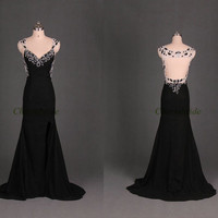 cheap chiffon evening dresses with sweep train / sexy v-neck prom dress for women / elegant beaded holiday pardy gowns