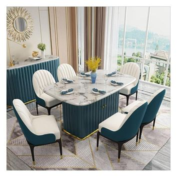 Classic Light Luxury Marble Dining Table Set