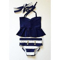 Baby Girl Swimwear Two Pieces bikini Navy Tops Striped Swimsuit Swimwear Bathing Clothes baby swimming suit High Quality