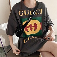 GUCCI New fashion letter stripe print couple top t-shirt