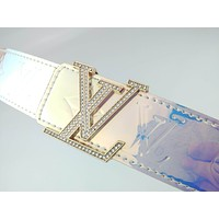LV Fashion and Colorful Diamond Letter Buckle Ladies Belt