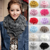 2016 Fashion New Womens Winter Warm Knitted Layered Fringe Tassel Neck Circle Shawl Snood Scarf Cowl 13 Color scarf luxury brand
