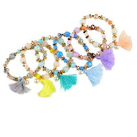 Tassel Beaded Stretch Bracelets