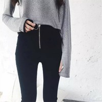 Denim Summer Fashion Women's Fashion Korean Casual Ring Zippers High Waist Pencil Pants [10384192140]