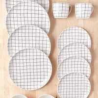 16-Piece Wonky Grid Dinnerware Set - Urban Outfitters