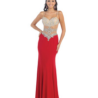 Red Sheer Bodice Sweetheart Spaghetti Strap Dress 2015 Prom Dresses
