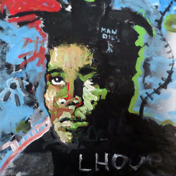 Painting of Jean Michel Basquiat - Unique Pop Art Painting - Basquiat Memorabilia Art - Accent Art - Wall Decor - Original Handpainted Art
