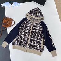 DIOR Jacquard knitted hooded cardigan with loose temperament women's coat