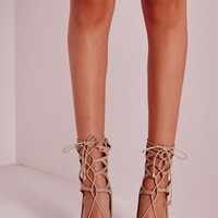 Missguided - Lace Up Stiletto Heeled Shoes Nude