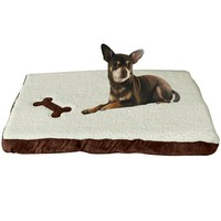 """Evelots Cushioned Pet Bed With Washable Fleece Cover,26.5""""W  16""""L  2.5""""H Brown"""