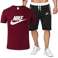 NIKE Trending Men Casual Print Short Sleeve T-Shirt Top Shorts Set Two-Piece Burgundy