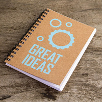 Great ideas, kraft paper note pad, paper notebook, pocket notebook, blank book, writing notepad, notebook journal, cogs blue