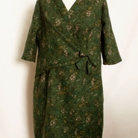 Vintage Green floral wool ladies dress Retro winter floral dress large size