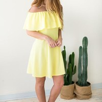 Even Flow Flare Dress - Yellow
