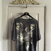 vintage 90s Wolf t shirt nature tee american indian tye dye shirt beauty t shirt hippy lifestyle t shirt 90s fashion tee