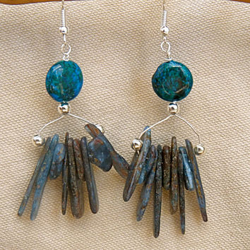 Blue Green Kyanite and Aventurine Chandelier Earrings, statement, stone, hand made, dangle, drop, gift for mom, Christmas, boho, rustic