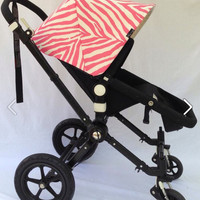 Stunning Pink Zebra Replacement Canopy or Hood for Bugaboo Cameleon, Bee, Old Bee, Donkey