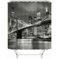 Downtown City Bridge Skyline Bathroom Shower Curtain