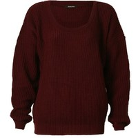 Aislinn Womens Long Sleeves Knitted Baggy Style Oversize Plain Jumper Sweater One Size (Fits UK 8-14) Wine