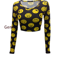 Women Ladies Comic Cartoon Smiley Face Print Long Sleeve Stretch Crop Top 8-14