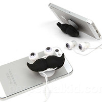 MUSTACHE EAR BUDS, STAND & CORD WRAP