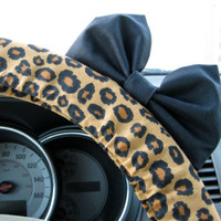 Cheetah Steering Wheel Cover with Matching Black Bow