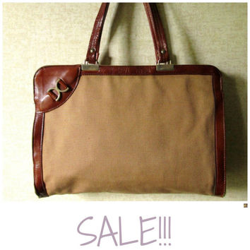 SALE!!! Shoulder Bag vintage 70s fabric purse tan canvas tote bag russet brown leather equestrian style vintage 1970s