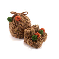 Knitted Baby Hat and Booties - Light Brown Tweed, 3 - 9 month