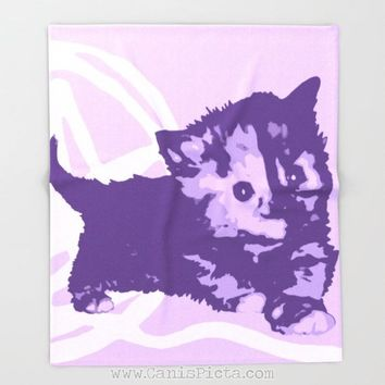 Kitten Blanket Throw Fleece Home Decor Pale Purple Lavender Light Soft Girls Unique Bedding Bed Decorative Gift Baby Cat Kitty Cute House