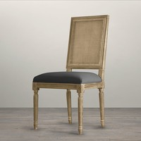 Vintage French Cane Back Square Upholstered Side Chair