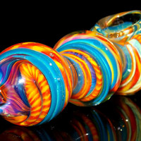 NEW Larger Heavy Solid Glass Spoon Bowl - Color Changing Triple Bubble Design Pipe Water Blue vs. Fire Red