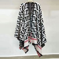 FENDI Autumn Winter Fashion Women F Letter Jacquard Tassel Shawl Cloak White I13897-1