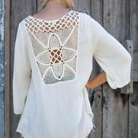 Crochet Back Laced Front Blouse