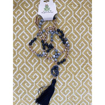 Black Tone Natural Stone With Tassel Pendent-1CNC C26