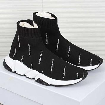 Balenciaga Speed Stretch Knit Mid Sneakers Woman Men Running Shoes