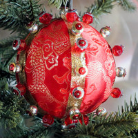 Christmas Ornament, Red Ball with Gold & Silver Accents in Gift Box, Handmade Holiday Tree Decoration, Hostess Present, Fabric Holiday Decor