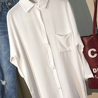 White Lapel Collar Button Up Single Chest Pocket  Loose Long Sleeve Blouse