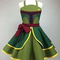Star Wars Inspired Handmade Boba Fett Apron - Full Circle Skirt Pin Up Cosplay Costume