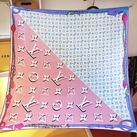 LV Louis Vuitton new printed letter stitching color scarf silk scarf White&Pink