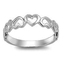 .925 Sterling Silver Heart Eternity Ring Kids and Ladies Size 4-10