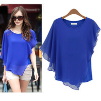 Blue Irregular Sleeve Blouse
