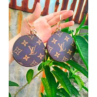 LV fashion hot selling small round printed key bag for ladies