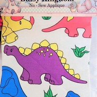 """Daisy Kingdom Dino Dinosaur Fabric Appliques 17 1/2""""x44"""" Brightly Colored No-Sew Figures and Instructions Vintage 1990 New Old Stock Retired"""