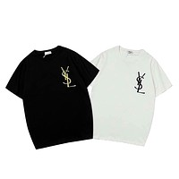YSL Tide brand men and women models embroidery letters loose round neck half sleeve T-shirt