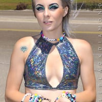Black Hologram Halter Top