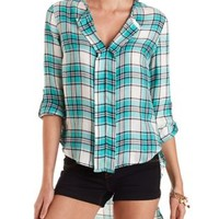White Combo High-Low Plaid Pullover Top by Charlotte Russe