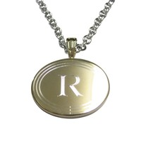 Gold Toned Etched Oval Letter R Monogram Pendant Necklace