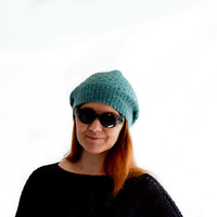 Fall fashion slouchy beanie, hand knitted slouch hat for women, teal oversized beanie, tean girls hat
