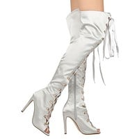 Cape Gray Satin Lace up Front Open Toe OTK Thigh Boot High Heel